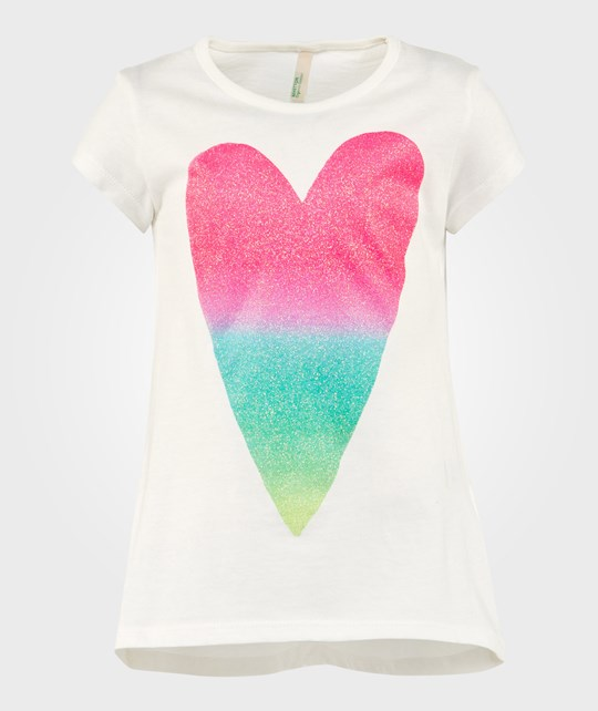 United Colors of Benetton Heart T-Shirt Off White OFF WHIT 074