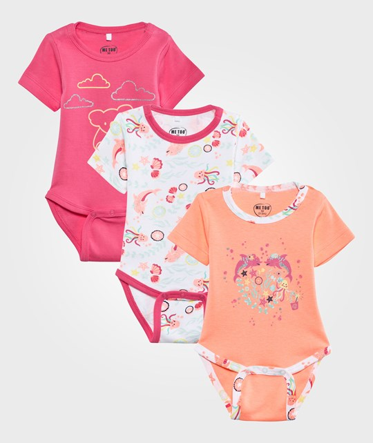 Me Too Gabi 3-Pack Baby Body SS Neon Coral Neon Coral