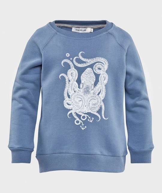 One We Like Rag Sweatshirt Octopus Blue Blue
