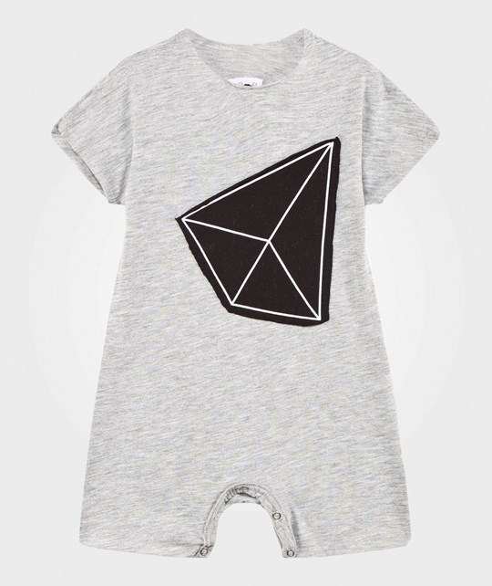 NUNUNU Geometric Patch Kimono Playsuit Heather Grey Grå
