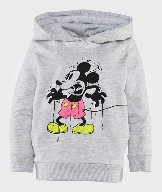 Little Eleven Paris Neon Mickey Hoodie Light Grey Light Lightgrey