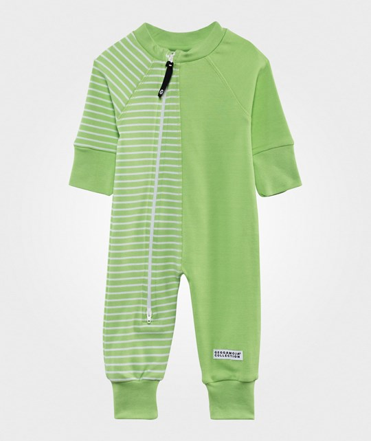 Geggamoja Two Color Baby One-Piece Lime Green/White Lime green/white
