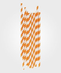 My Little Day 25 Paper Straws - Orange Stripes orange stripes