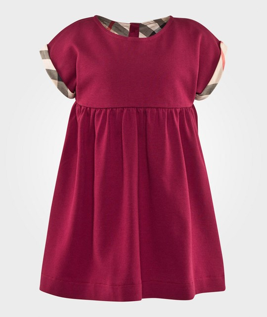 Burberry Check Cuff Stretch Cotton Dress Berry Pink Berry Pink