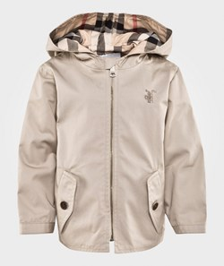 Burberry Check Detail Cotton Hooded Jacket Taupe