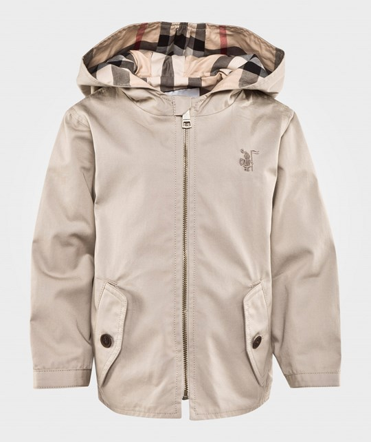 Burberry Check Detail Cotton Hooded Jacket Taupe Taupe