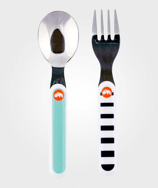 Done by Deer Contour Spoon & Fork Set Blue  Blue
