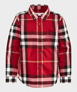 Burberry Check Cotton Flannel Button-Down Shirt Parade Red