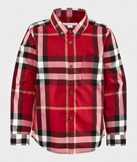 Burberry Check Cotton Flannel Button-Down Shirt Parade Red Parade Red