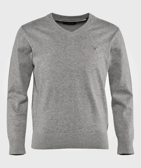 GANT Lt Weight Cotton V-Neck Grey Melange Grey Melange