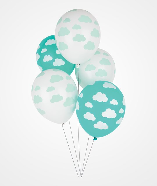 My Little Day 5 Printed Confetti Balloons - Aqua Clouds clouds