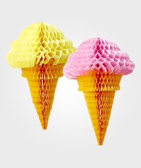 RICE A/S Ice Cream Cone Honeycomb Hanger 2-Pack Multi