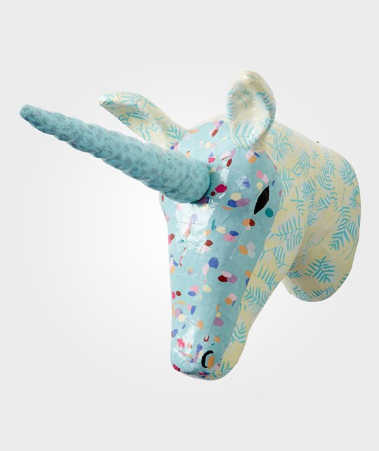 Rice Wall Hanging Paper Mache Unicorn Head Blue Sand