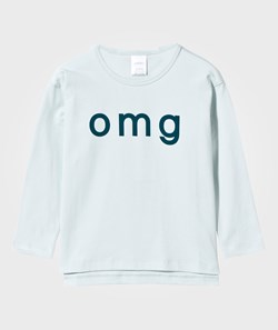 Tinycottons Omg Graphic Long Sleeve Oversized Tee Light Blue