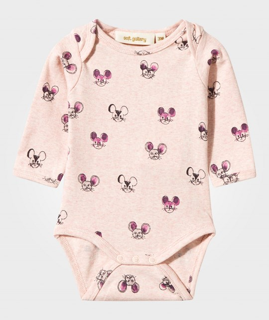 Soft Gallery Bob Long Sleeve Body Rose Melange Rose Melange, AOP Mousey Pink