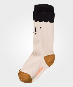 Tinycottons Big Faces High Socks Beige/Black
