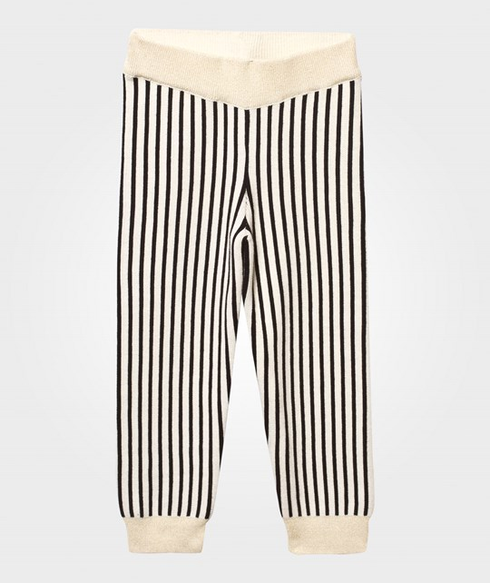 Bobo Choses Black Stripes Knitted Leggings Black