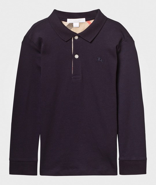 Burberry Check Trim Long-Sleeved Cotton Polo Shirt True Navy True Navy