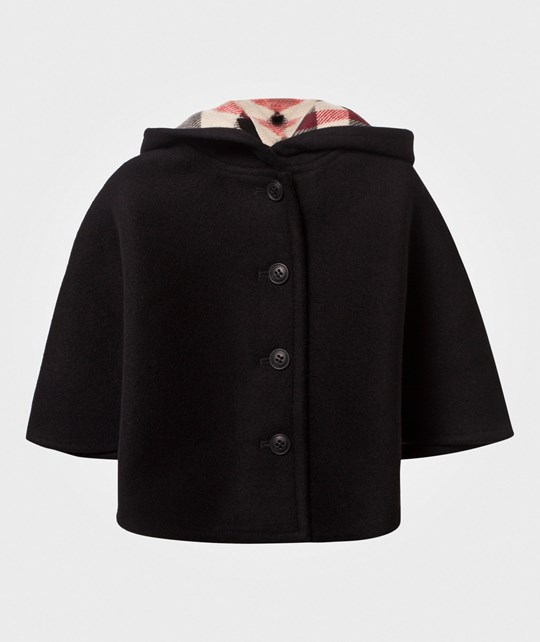 Burberry Hooded Wool A-Line Cape Black Black