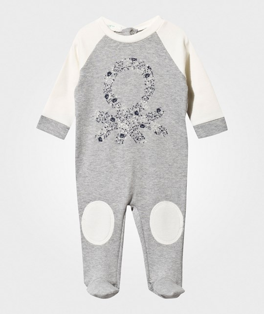 United Colors of Benetton Footed Baby Body Grey/White Black