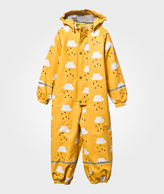 Kattnakken Winter Lined Rain Suit Clouds Yellow Gul m/skyer
