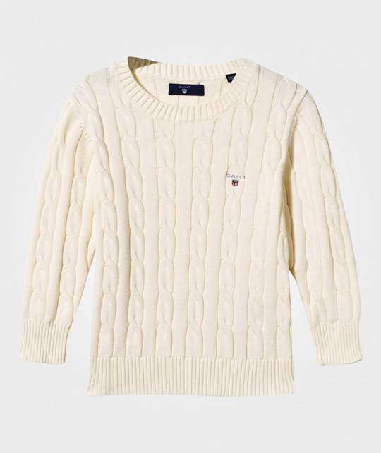 GANT Cotton Cable-knit Sweater Cream Eggshell
