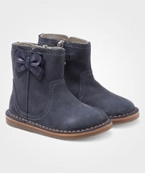 Mayoral Leather Boots Metallic Bow Deep Blue Blue