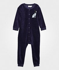 Mini Rodini Rabbit Velour Onesie Dark Blue Dk Blue