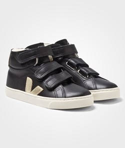 Veja Esplar Mid Leather Mat Black Gold