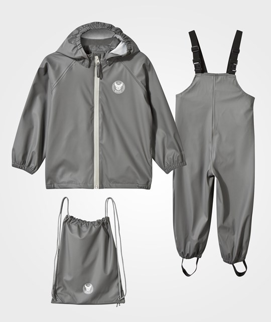 Wheat Rain Jacket and Overall Dark Grey Grå