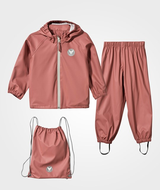 Wheat Rain Jacket and Pants Rouge Pink