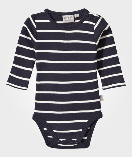 Wheat Baby Body Stripes Navy Marinblå