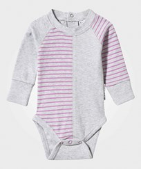 Geggamoja Baby Body Light Grey Mel/Lilac Grå