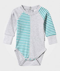 Geggamoja Baby Body Light Grey Mel/ Turquoise Grå