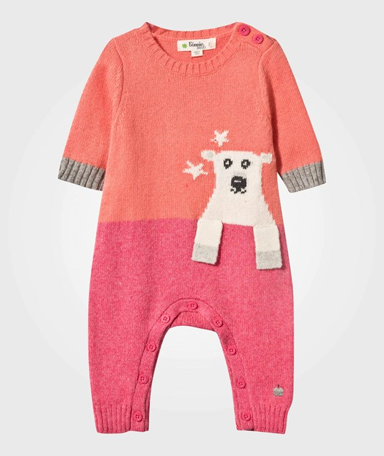 The Bonnie Mob Polar Bear Intarsia Baby One-Piece Pink Pinks