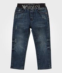 Armani Junior Mid Wash Pull Up Denim Jeans Indigo Denim Indaco