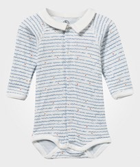 Petit Bateau Long-Sleeved Baby Body Lait/Blue Blue/White