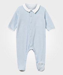 Petit Bateau Velour Footed Baby Body Blue Blue