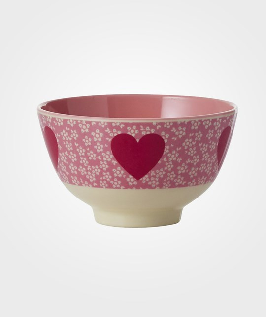 Rice Small Melamine Bowl Heart Print Pink