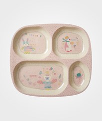 RICE A/S Bamboo Melamine Divided Plate Girls Cooking Print Soft Pink