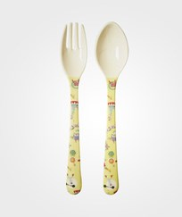RICE A/S Melamine Spoon and Fork Yellow Circus Print Circus Print Yellow