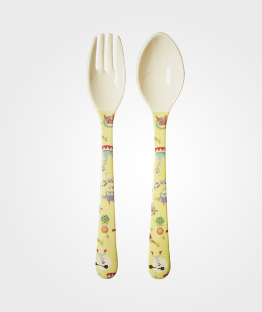 Rice Melamine Spoon and Fork Yellow Circus Print Circus Print Yellow