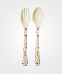 RICE A/S Kids Melamine Spoon and Fork with Girl Circus Print  - Soft Pink Circus Print -Soft Pink