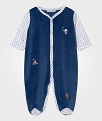 Kissy Kissy Velour Footed Baby Body Clowning Around Navy Marinblå