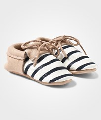 Mini Mocks Be Frank Moccasin Nude/black & white stripes