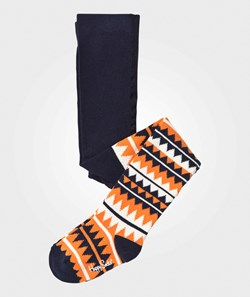 Happy Socks ZigZag Black/Orange Tights
