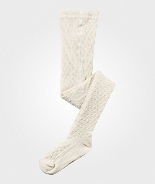 Melton Classic Tights Wool W/Struct Offwhite Hvid