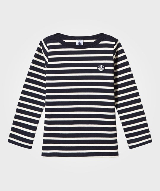 Petit Bateau Sailor-Style Top Smoking/Coquille Blue/White