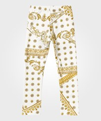 Young Versace Baroque Leggings White BIANCO-ORO