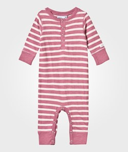ebbe Kids Amore Baby One-Piece Dusty Pink /Off White Stripe